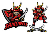 cartoon style of samurai warrior mascot - 215920559
