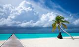 Maldives beach resort panoramic landscape. Summer vacation travel holiday background concept. Maldives paradise beach. - 215927721