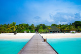 tropical Maldives island with white sandy beach and sea - 215927767