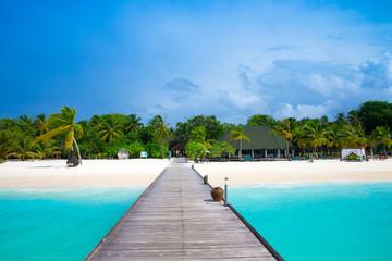 tropical Maldives island with white sandy beach and sea © Pakhnyushchyy