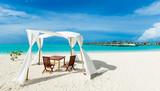 Maldives beach resort panoramic landscape. Summer vacation travel holiday background concept. Maldives paradise beach. - 215928187
