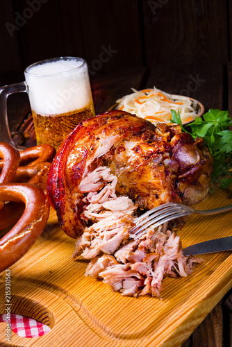 crisp and crusty original Eisbein in Bavarian - 215930563
