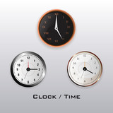 classic clocks over gray background, colorful design. vector illustration - 215931910