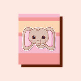 kawaii elephant over colorful squares and pink background. vector illustration