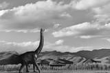 dinosaur in beautiful landscape scenery cloudy