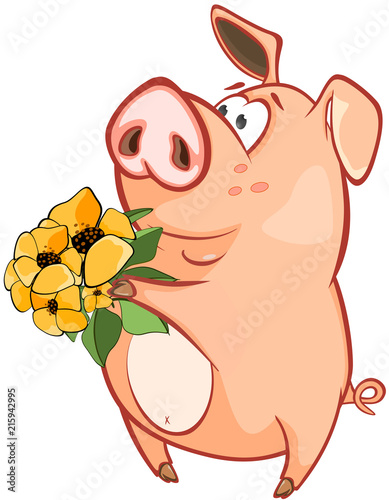 Canvas Babykamer Illustration of a Cute Pig. Cartoon Character