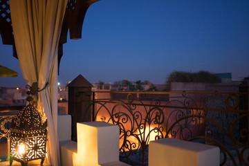 oriental night roof view in marrakesh