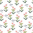 seamless pattern small floral vector maroon background - 215945732