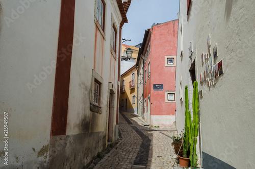 Aluminium Smalle straatjes Calle del Barrio de Alfama, Lisboa. Portugal