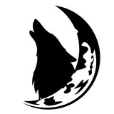 howling wolf and moon crescent black and white vector design