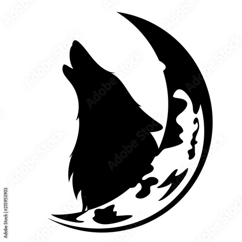Fototapeta howling wolf and moon crescent black and white vector design