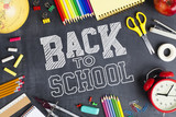 Back to school concept - school office supplies - 215958702