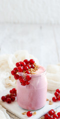 Red currants and yogurt
