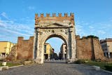 Famous place in Rimini, Italy. Arch of Augustus, the ancient gate of the city. - 215968304