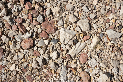 Aluminium Stenen Mixed types of pebbles and stones pattern, dry place next to a brook