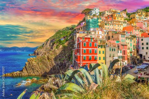 Fotobehang Liguria marina of sea village in Cinque Terre