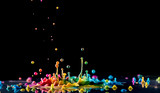 Abstract sculptures of colorful splashes of paint. Dancing liquid on a black background. Ink water splash. Color explosion. - 215974161