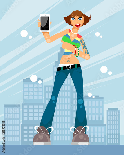 Girl on a city background
