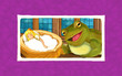 cartoon scene with frog looking at small girl sleeping in chestnut shell - illustration for children