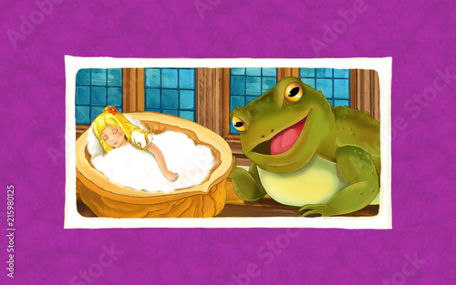 Naklejka cartoon scene with frog looking at small girl sleeping in chestnut shell - illustration for children