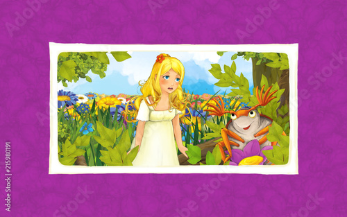 cartoon scene with young beautiful girl on the meadow with dumbledore - illustration for children  - 215980191