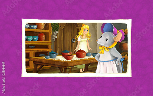 cartoon scene with mouse and tiny girl in the kitchen - illustration for children - 215980307