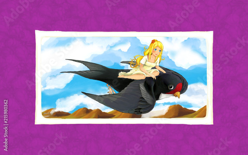 Cartoon fairy tale scene with young girl flying on cuckoo bird - illustration for children - 215980362