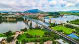 Drone Aerial of Downtown Chattanooga Tennessee Skyline - 215980582
