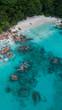 Quadro Seychelles Anse Lazio spiaggia vista aerea