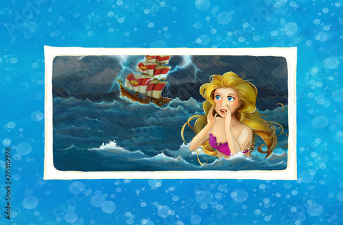 cartoon adventure scene with storm on the sea - mermaid watching some ship - illustration for children - 215982970