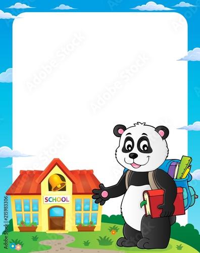 Canvas Voor kinderen School panda theme frame 1