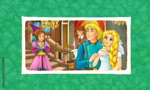 cartoon scene with married couple - king and queen - framed with background - illustration for children - 215984165