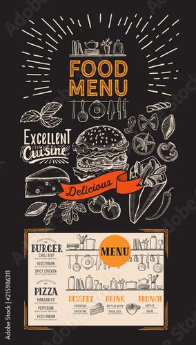 Poster Food menu for restaurant. Vector flyer with kitchen utensils on blackboard background. Design template with vintage hand-drawn illustrations.