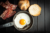 Pan with egg and bacon