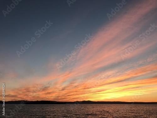 Canvas Zee zonsondergang Lake Champlain