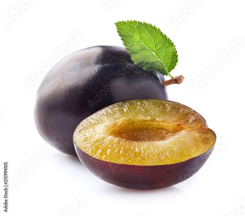 Plums with leaf - 215994105