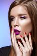 Leinwandbild Motiv bright violet lips