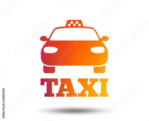 Taxi car sign icon. Public transport symbol. Blurred gradient design element. Vivid graphic flat icon. Vector