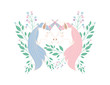 cute unicorns kissing with flowers characters vector illustration design