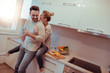 Quadro Romantic young couple cooking together in the kitchen