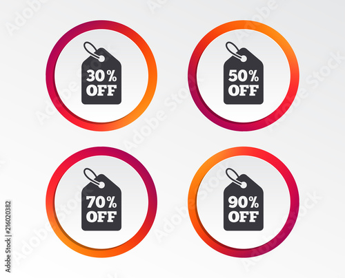 sale price tag icons discount special offer symbols 30 50 70