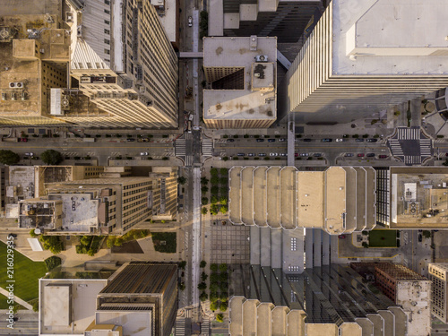 Foto Murales Aerial straight down view of skyscapers and cityscape in Oklahoma City, USA