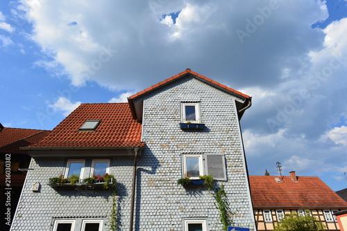 canvas print picture Denkmalgeschützte Architektur in Bad Soden-Salmünster