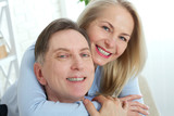Middle aged Couple portrait isolated on white background. - 216034713
