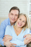 Middle aged Couple portrait isolated on white background. - 216034773