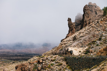 Boca Tauce scenic road in the fog through the Mountain Teide National Park