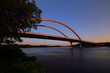 Hastings bridge spanning over the Mississippi River at dawn with the morning sunrise
