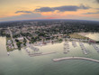 Aerial Sunset View of Sheboygan, Wisconsin on Lake Michigan