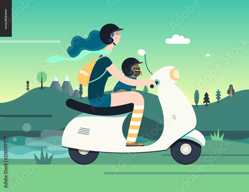 Foto Spatwand Groene koraal Girl on a scooter -flat vector concept illustration of blue-haired girl wearing helmet riding a white scooter, a french bulldog on lap wearing small helmet, on the green landscape with hill and clouds