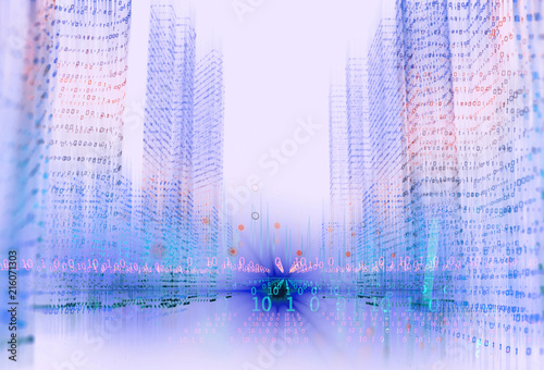 digital city scape with digit number elements illustration - 216071303